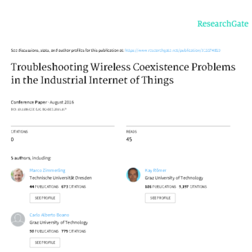 Дослідження: Troubleshooting Wireless Coexistence Problems in the Industrial Internet of Things
