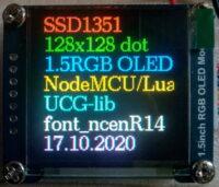 """Кольоровий дисплей OLED 1.5 """"з SSD1351 – програмний SPI модуль для тестового підключення з графічної бібліотекою UCG"""